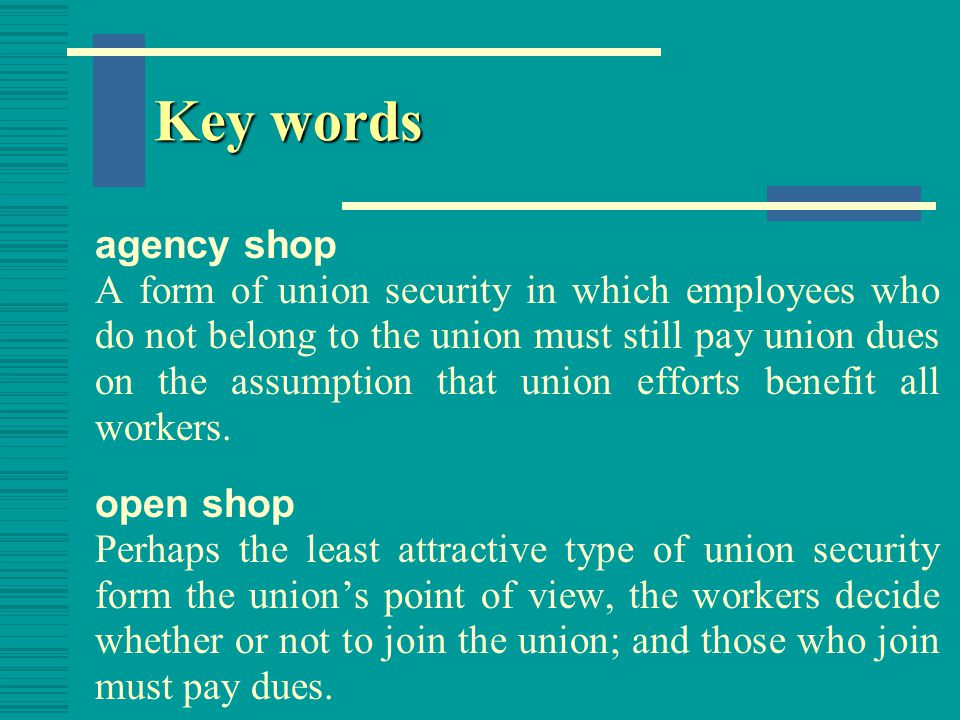 Key words Norris-LaGuardia Ace This law marked the beginning of the era of strong encouragement of unions and guaranteed to each employee the right to bargain collectively free from interference, restraint, or coercion. National labor Relations Board (NLRB) The agency created by the Wagner Act to investigate unfair labor practice charges and to provide for secret- ballot elections and majority rule in determining whether or not a firm's employees want a union.