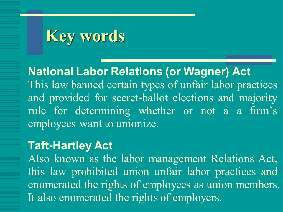 Key words national emergency strikes Strikes that might imperil the national health and safety. Landrum-Griffin Act The law aimed at protecting union members from possible wrongdoing on the part of their unions.