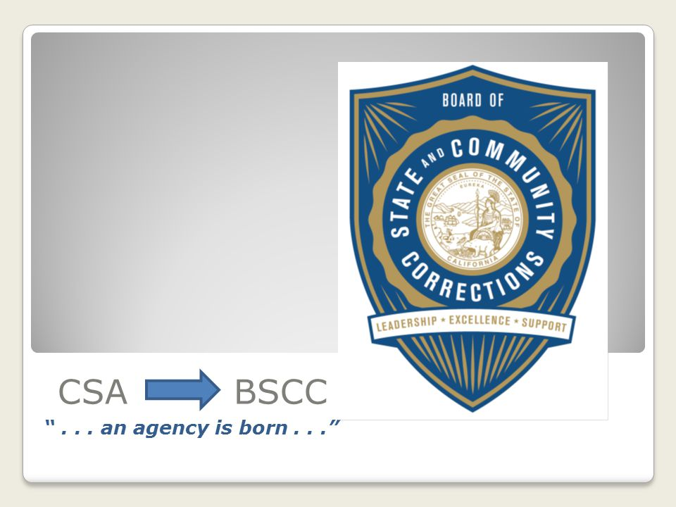 CSA BSCC On July 1, 2012, the CSA was abolished by SB 92 and the BSCC was born.