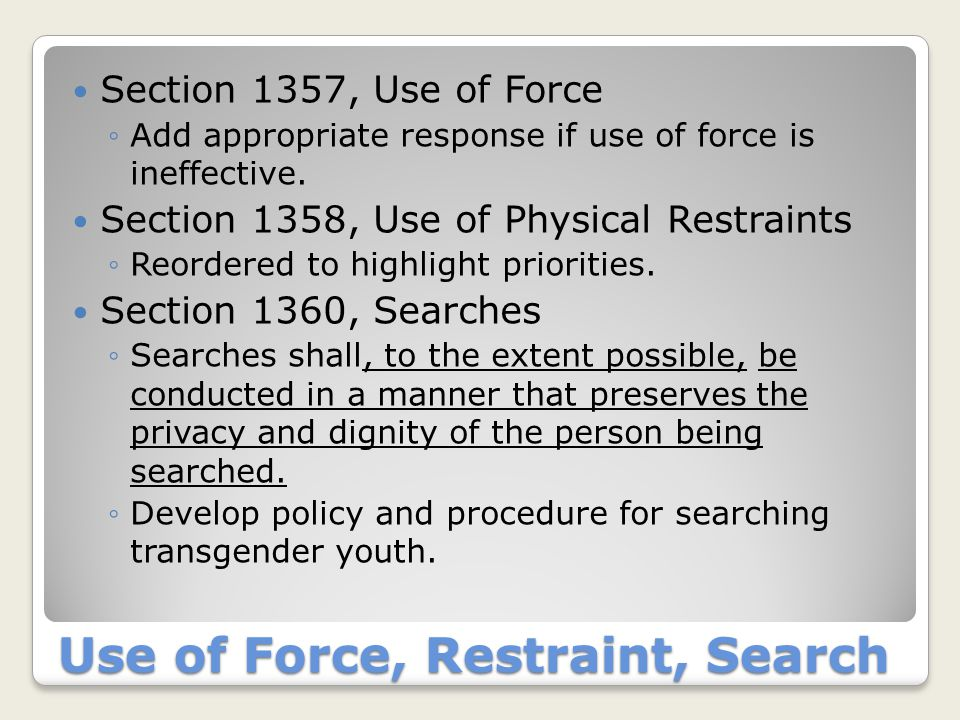 Grievance, Discipline, Programs Section 1361, Grievance Procedure ◦Youth may grieve mistreatment, harassment, or violations of nondiscrimination policy Section 1378, Social Awareness Program ◦Add tolerance and diversity.