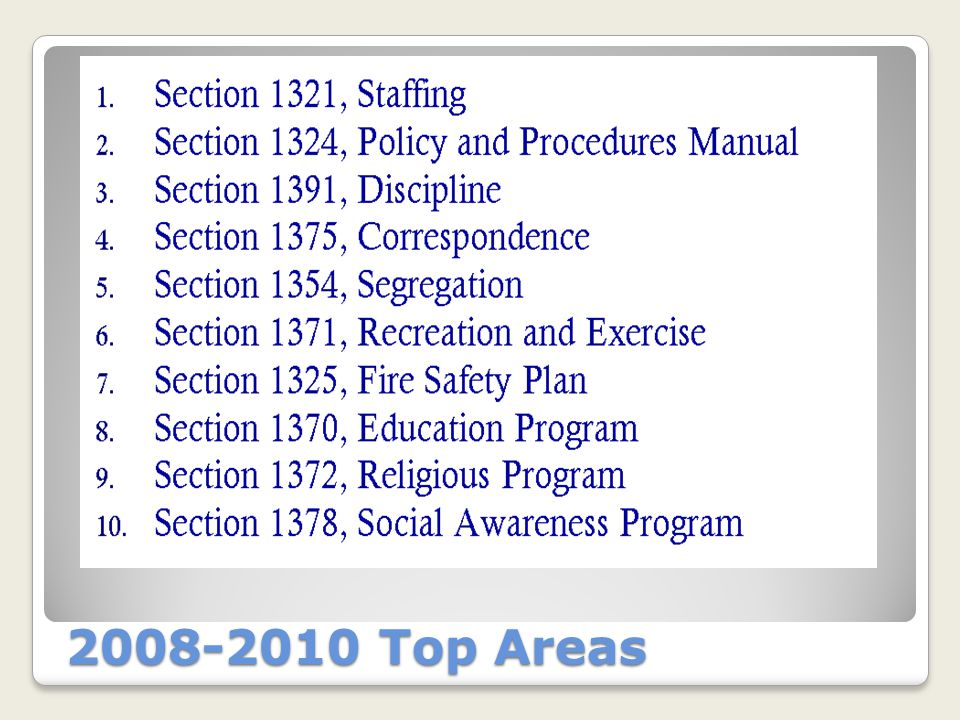 2010-2012 Top Areas of Concern 1.1361 Grievance Procedure 2.