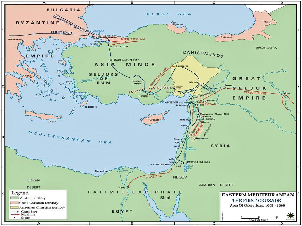 The Prince's Crusade Leaders meet at Constantinople – Bohemund, Godfrey and Baldwin.