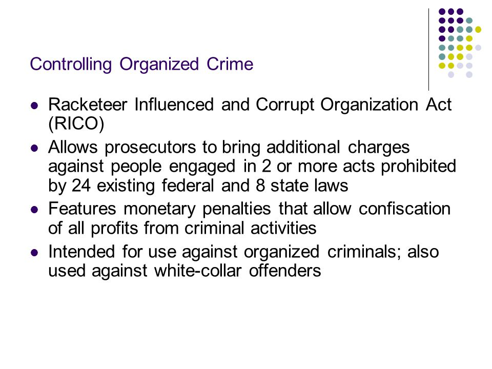 The Future of Organized Crime Successful arrests and prosecution are an indication that the traditional organized crime syndicates are in decline The Mafia had been hurt by changing values in U.S.