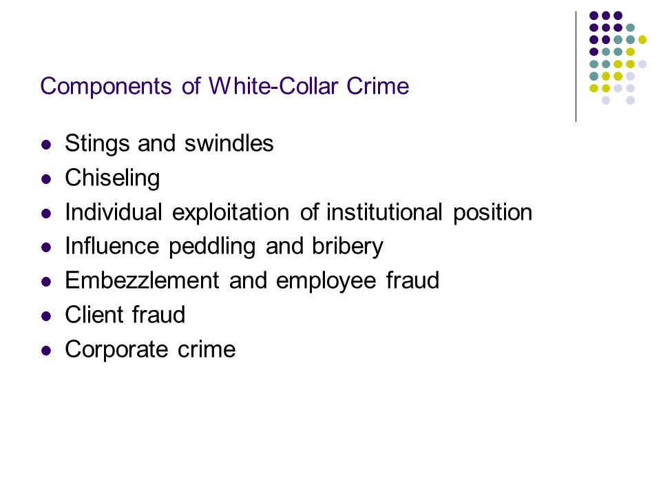 Stings and Swindles A white-collar crime in which people use their institutional or business position to trick others out of their money