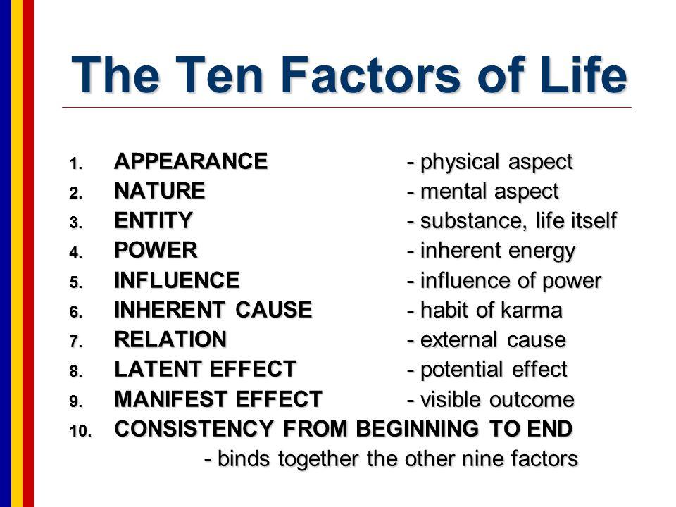 The Ten Factors of Life 1.