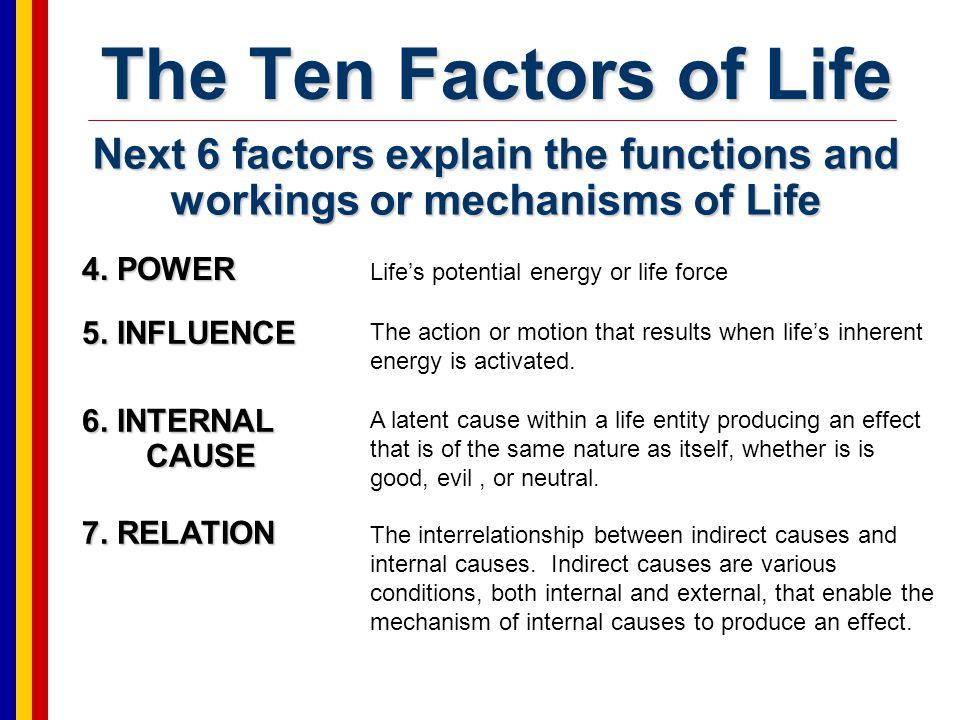 The Ten Factors of Life 8.