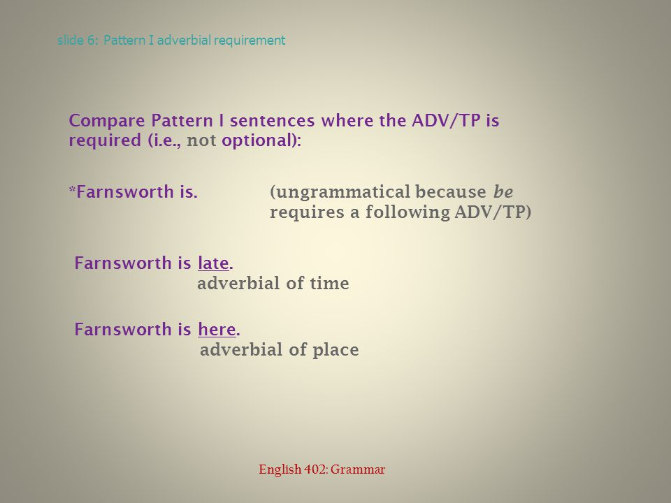 Compare Pattern I sentences where the ADV/TP is required (i.e., not optional): *Farnsworth is quickly.