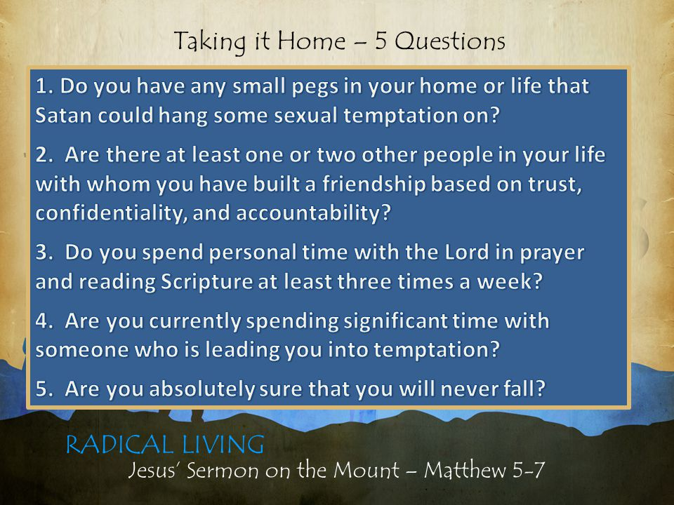 Jesus' Sermon on the Mount – Matthew 5-7 LIVING