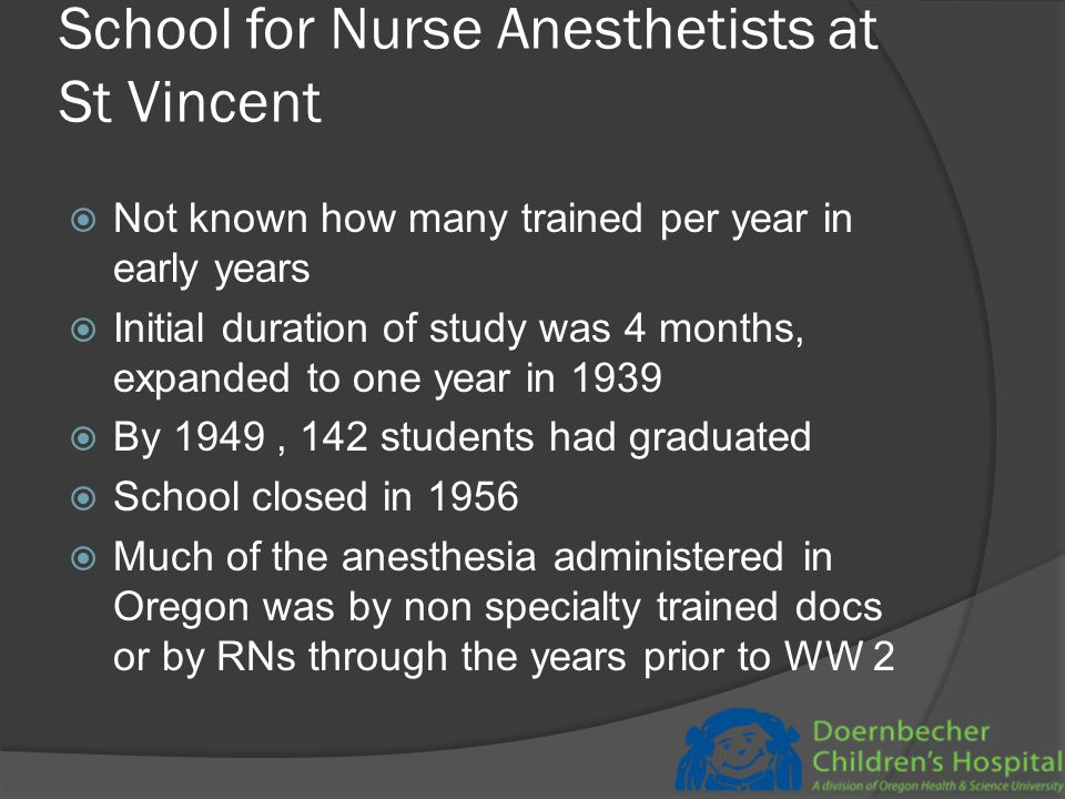 Course description from University of Oregon's catalogue in 1915  4 students who have been trained in strict asepsis enter the amphitheater with the operating surgeon: two of them assist the operator and take part in the operation, the other two students are stationed at the head of the bed under an expert anesthetist who studies anesthesia with them and instructs them in all methods of administration.