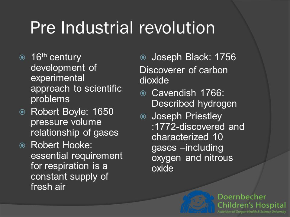 Industrial Revolution  1760 (in England) to 1840  Began in England, Scotland spread to US  Opium was the miracle drug  TB was a deadly disease with urbanization  Little progress in surgery from dark ages till middle of the 18 th century  Scientific inquiry – Royal Society  Pneumatic Institute ( 1798) ; Watt, Davy, Beddoes  Davy was a self experimenter  Ether Frolics in 1830s