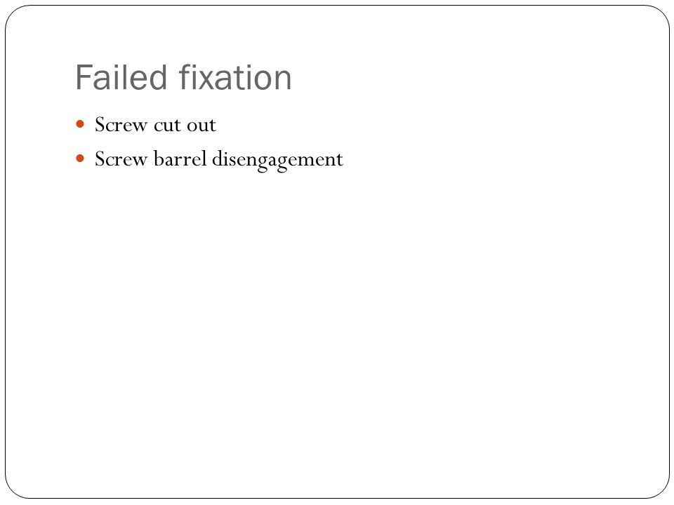 Salvage of failed fixation
