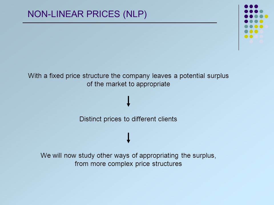 Companies P = f ( Q ) throw offers of quantity discount One of the reason is the existence of scale economies on processing the goods Discount for segment the demand Another reason of quantities discounts passes throw the possibility of discriminating prices between different groups If the company identifies which consumers belong to which group, they can establish different prices NLP - QUANTITY DISCOUNT