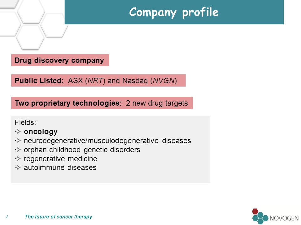 The future of cancer therapy Two first-in-class drug technologies 3 Super-Benzopyrans Anti-Tropomyosins Small molecules New chemical entities (multiple patent families) Pleiotropic (multiple targets; electron transfer enzymes; .