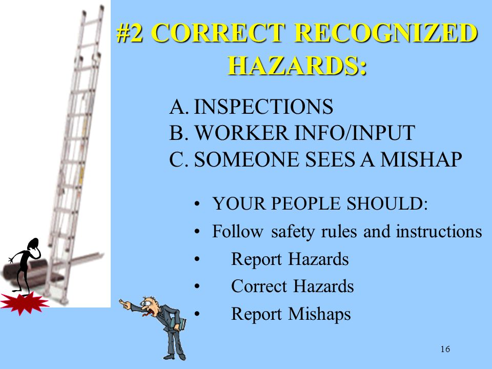 16 YOUR PEOPLE SHOULD: Follow safety rules and instructions Report Hazards Correct Hazards Report Mishaps #2 CORRECT RECOGNIZED HAZARDS: A.INSPECTIONS B.WORKER INFO/INPUT C.SOMEONE SEES A MISHAP