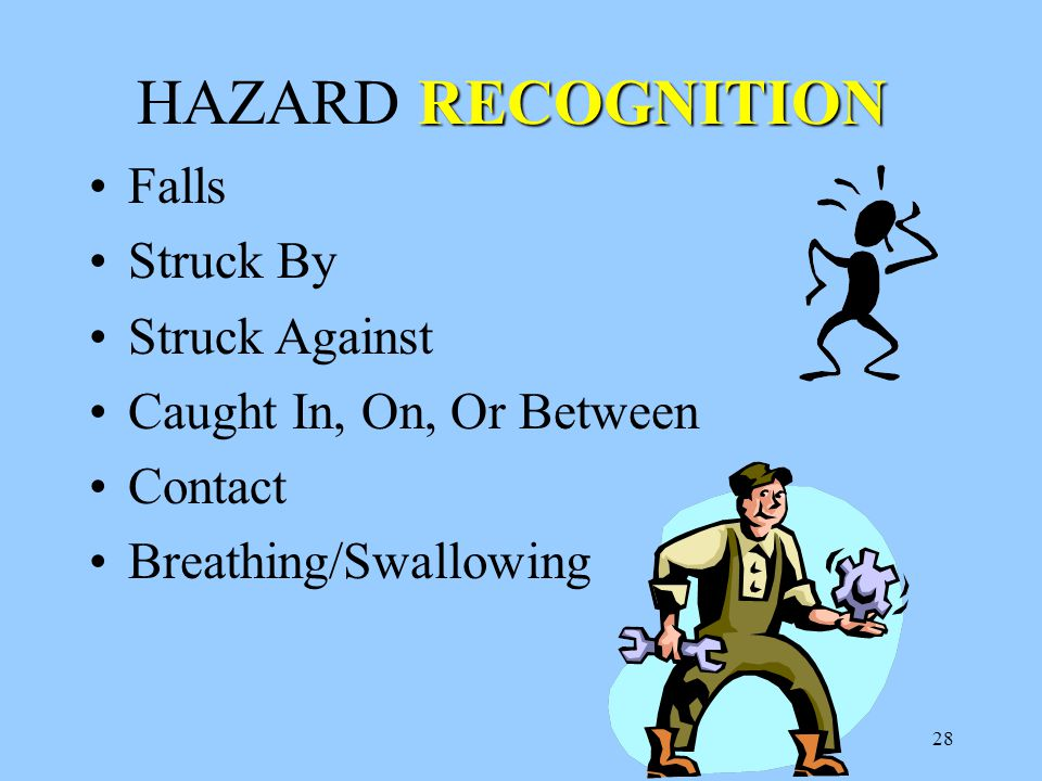 28 RECOGNITION HAZARD RECOGNITION Falls Struck By Struck Against Caught In, On, Or Between Contact Breathing/Swallowing