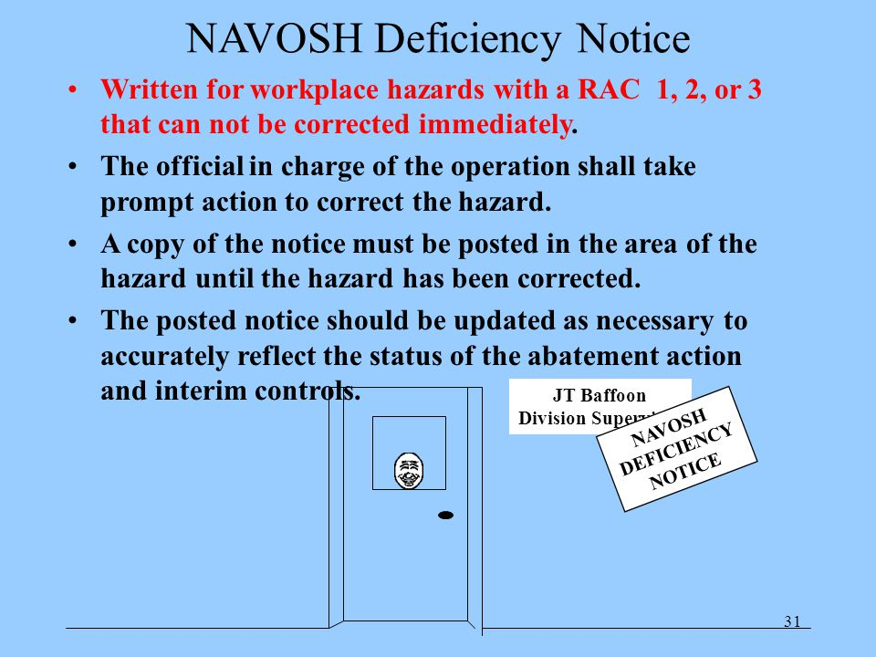 31 NAVOSH Deficiency Notice Written for workplace hazards with a RAC 1, 2, or 3 that can not be corrected immediately.