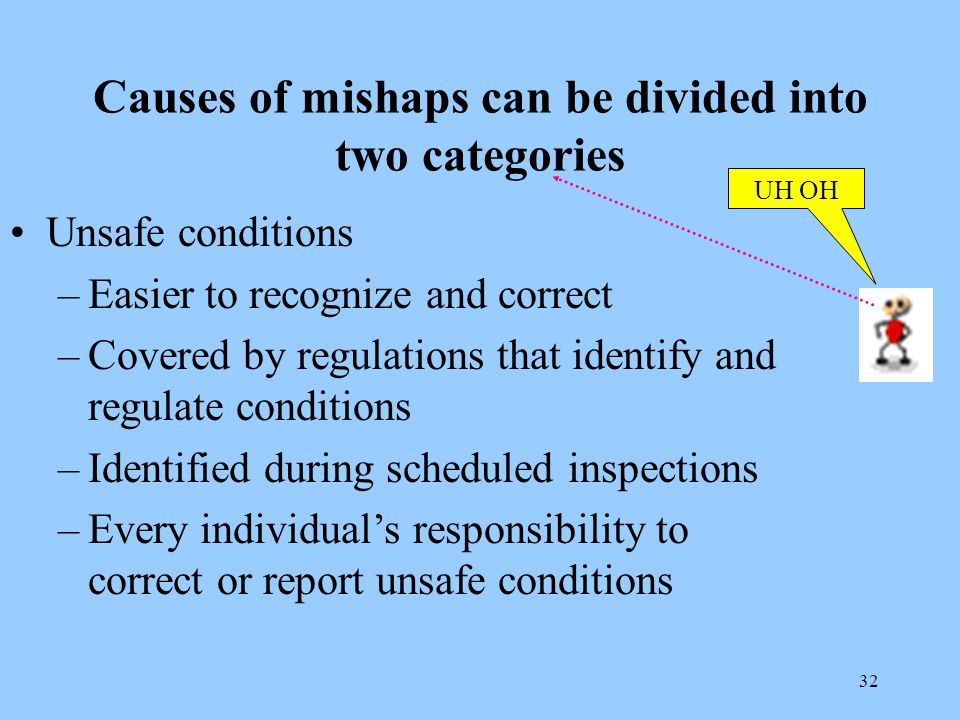 32 Causes of mishaps can be divided into two categories Unsafe conditions –Easier to recognize and correct –Covered by regulations that identify and regulate conditions –Identified during scheduled inspections –Every individual's responsibility to correct or report unsafe conditions UH OH