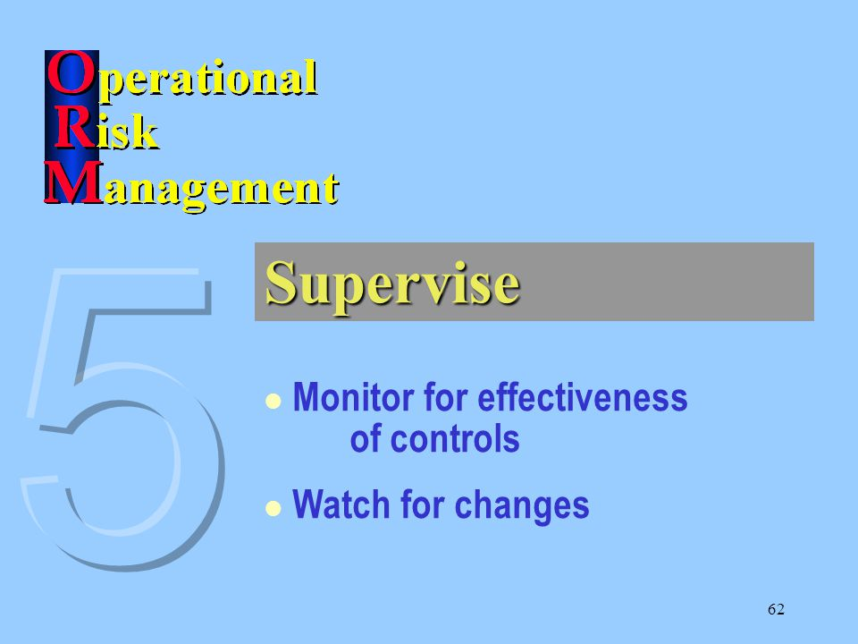 62 Supervise Monitor for effectiveness of controls Watch for changes
