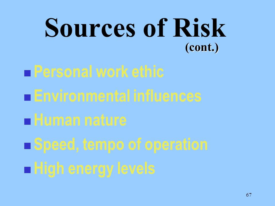 67 Personal work ethic Environmental influences Human nature Speed, tempo of operation High energy levels Sources of Risk (cont.)