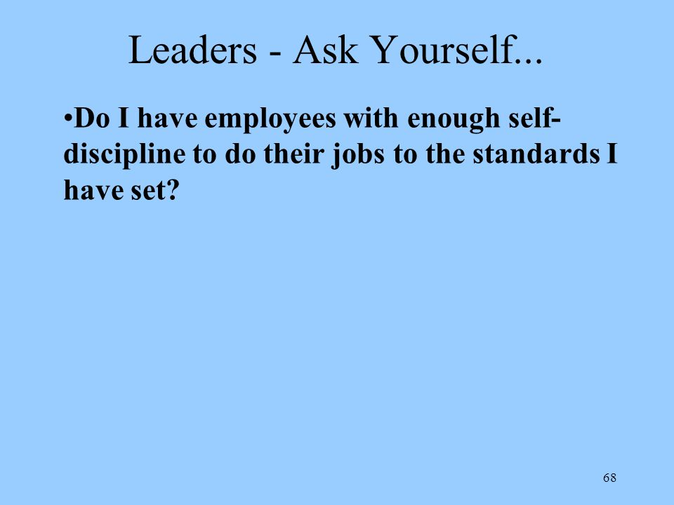 68 Leaders - Ask Yourself...