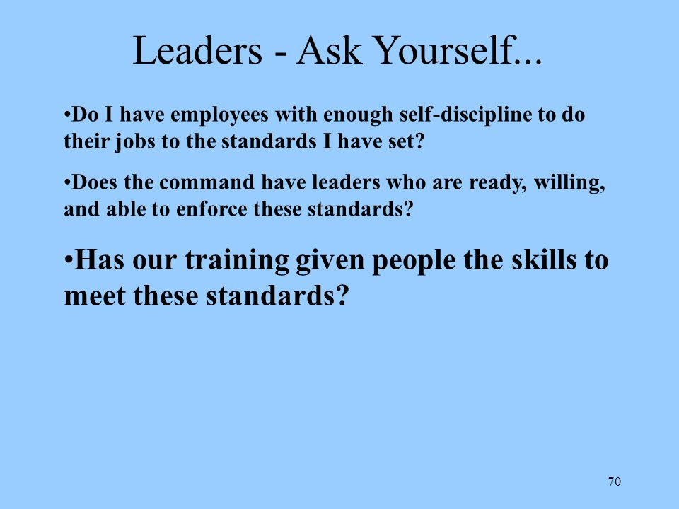 70 Leaders - Ask Yourself...