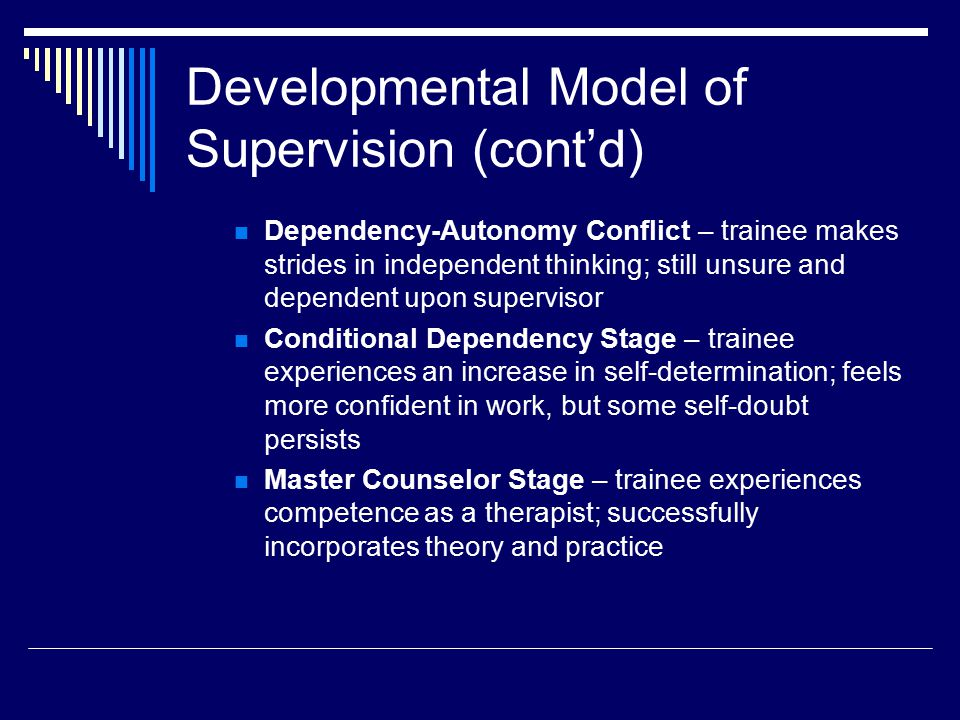 Four Functions of a Supervisor  Monitor Client Welfare  Enhance supervisee growth within stages  Promote transition from one stage to the next  Evaluate supervisees