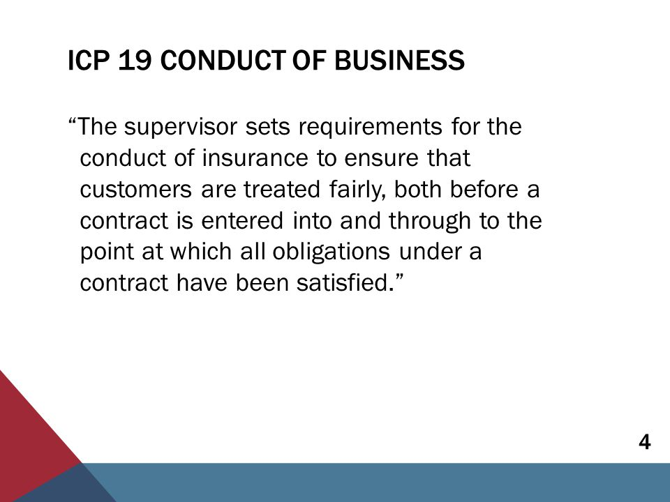 ICP 19 CONDUCT OF BUSINESS  Applies to insurers, and for the most part also to intermediaries  Requirements are outcome-focused and includes:  Fair treatment of customers  Pre-sale processes  Policy servicing  Claims handling  Complaints handling 5
