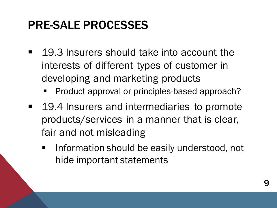 PRE-SALE PROCESSES Disclosure:  19.5 Supervisor sets requirements on timing, delivery and content of information  Customers need appropriate information before and at point of sale  Information should be easily understood – focus on quality, not quantity  Level of information required will vary, but should include key product features  Customers' rights and obligations  Policyholder protections schemes (if applicable) 10