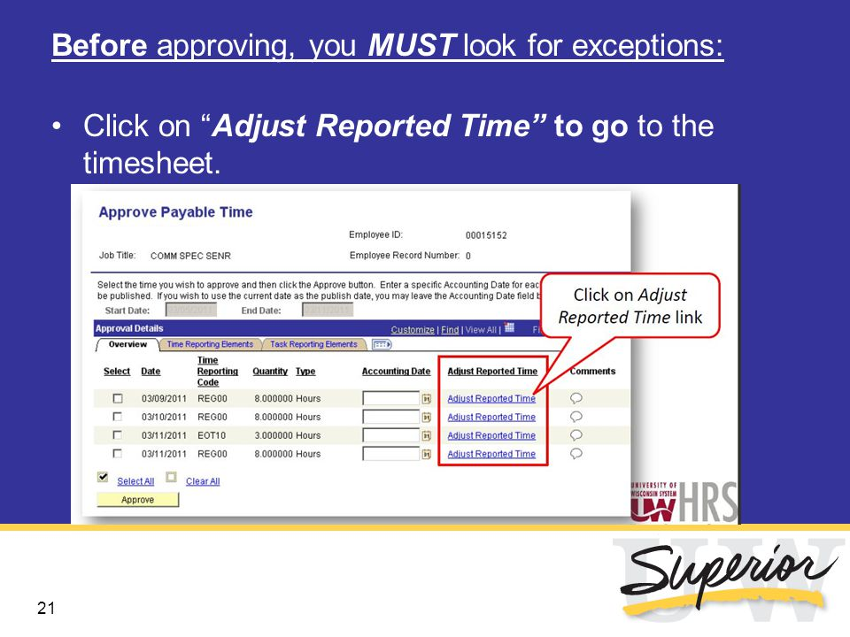 22 Exceptions appear with stopwatch icon Double click on icon to view the type of exceptions and their severity.