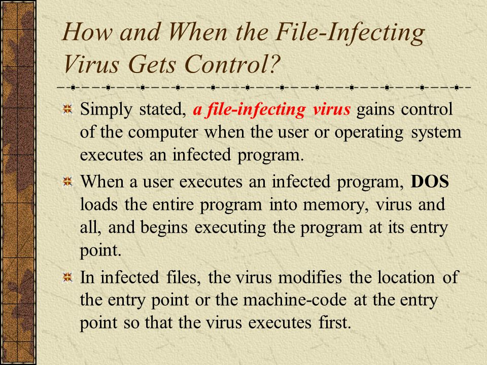 Proliferation of File-Infecting Viruses After the virus machine code begins executing, it can immediately seek out and infect other executable programs on the computer, or it can establish itself as a memory-resident service provider in the operating system.