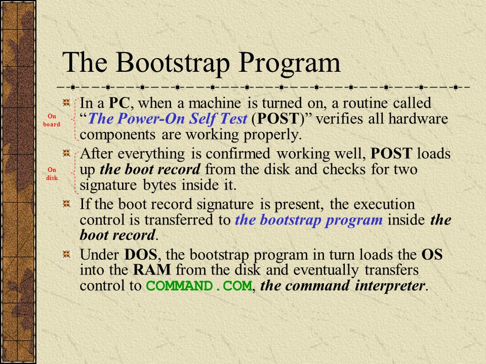 Boot Sequence from Uninfected Floppy Diskette