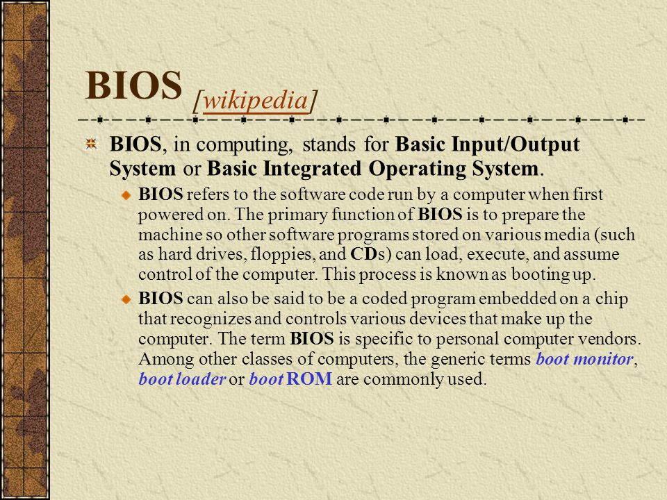 BIOS Procedures in ROM Chips ROM chips accompany most hardware add-ons, such as hard drives, video boards, and so forth.
