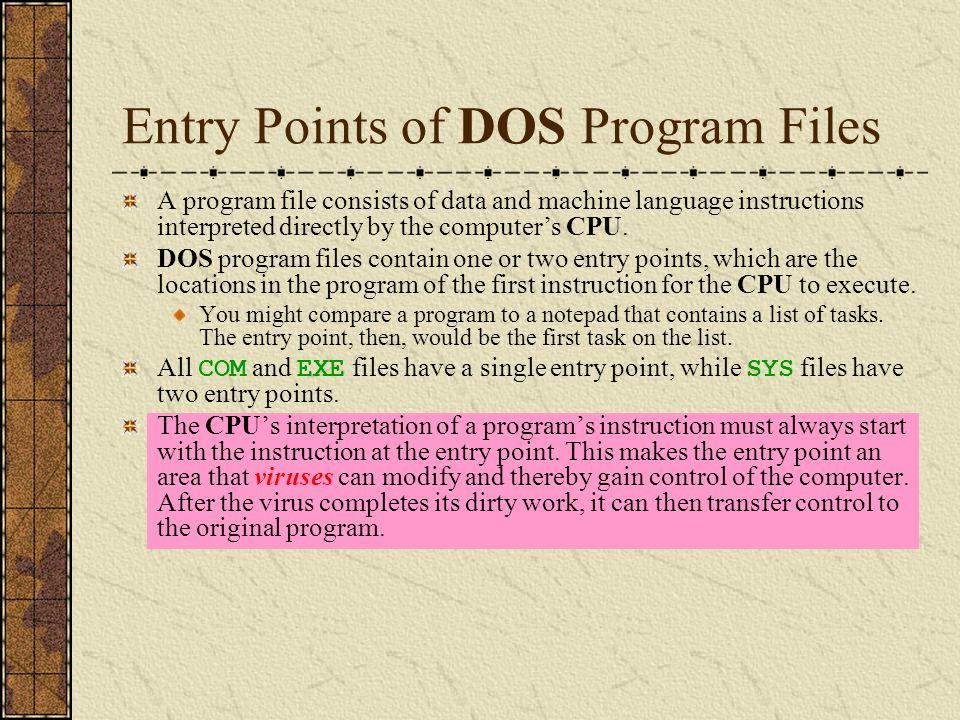 COM Files The COM executable file has the simplest DOS program file format.