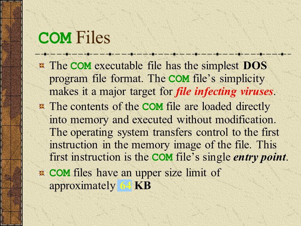 How a COM File Is Loaded into RAM and Executed