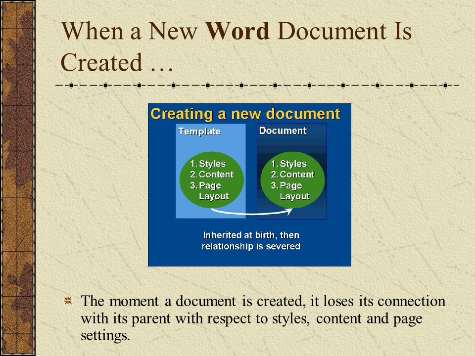 Changing a Document Won t Change the Template It s Attached to You can change the margins in a document and the change won t affect the template.