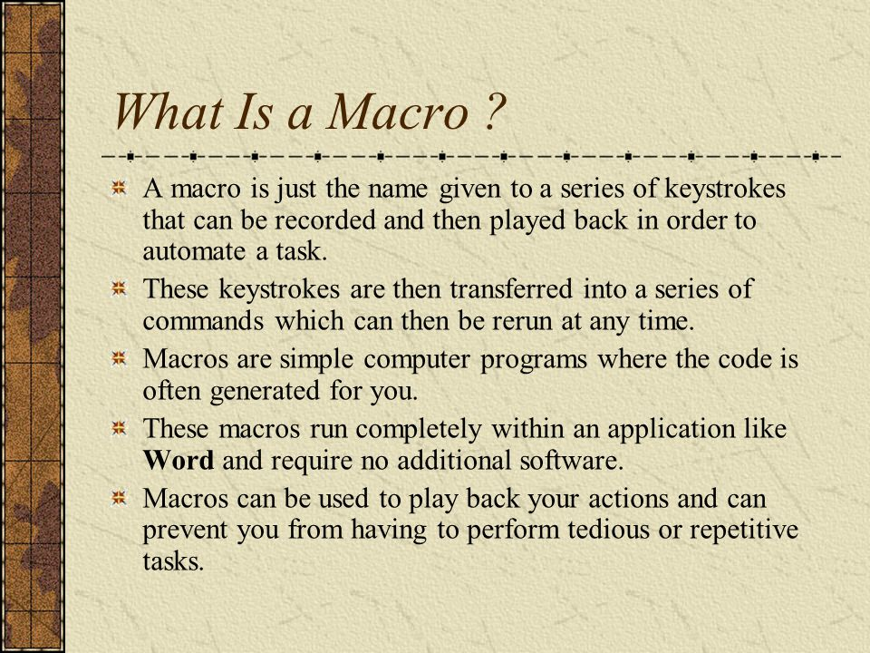 Where to Store Your Macro.
