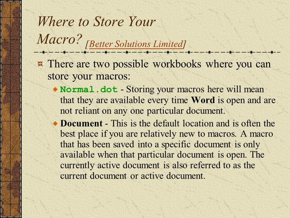 Macros [Shauna Kelly]Shauna Kelly You can copy macros to and from documents and templates using Tools > Templates and Add-ins > Organizer.