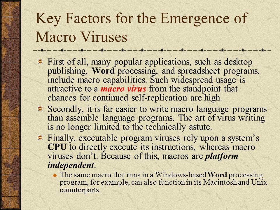 Macro Viruses Infect data files.Most common viruses nowadays.