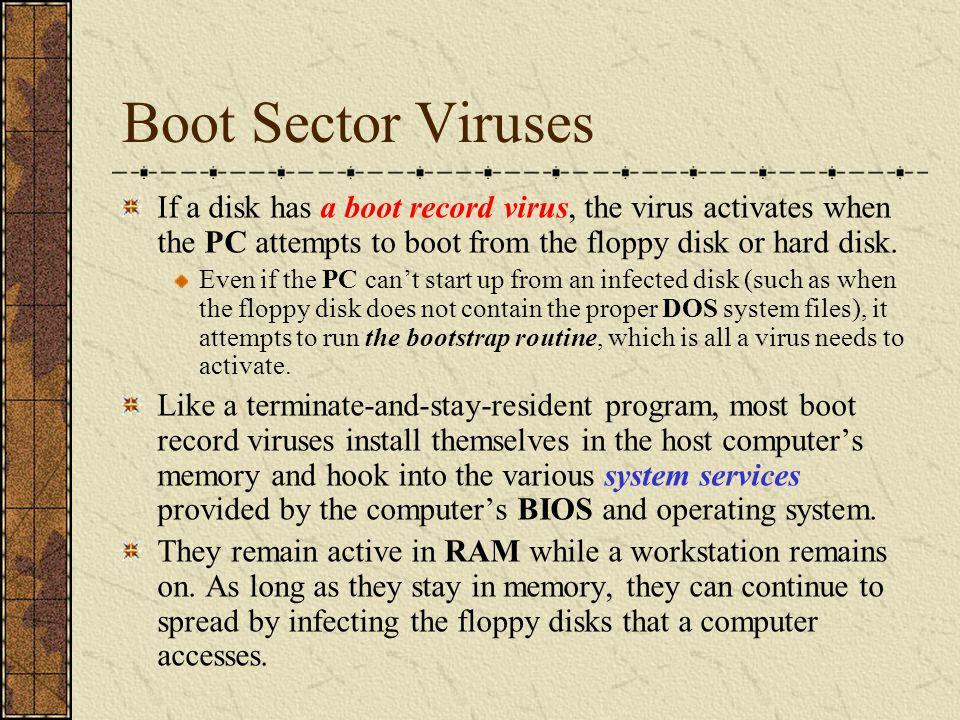 Floppy Boot Record Viruses