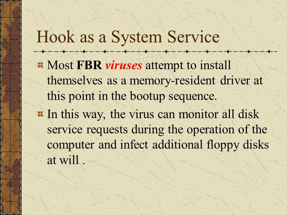 Conceptual Hierarchy of Service Providers after the System is Infected Virus Resident Service Provider Conceptual hierarchy of service providers after memory installation by the boot record virus Application