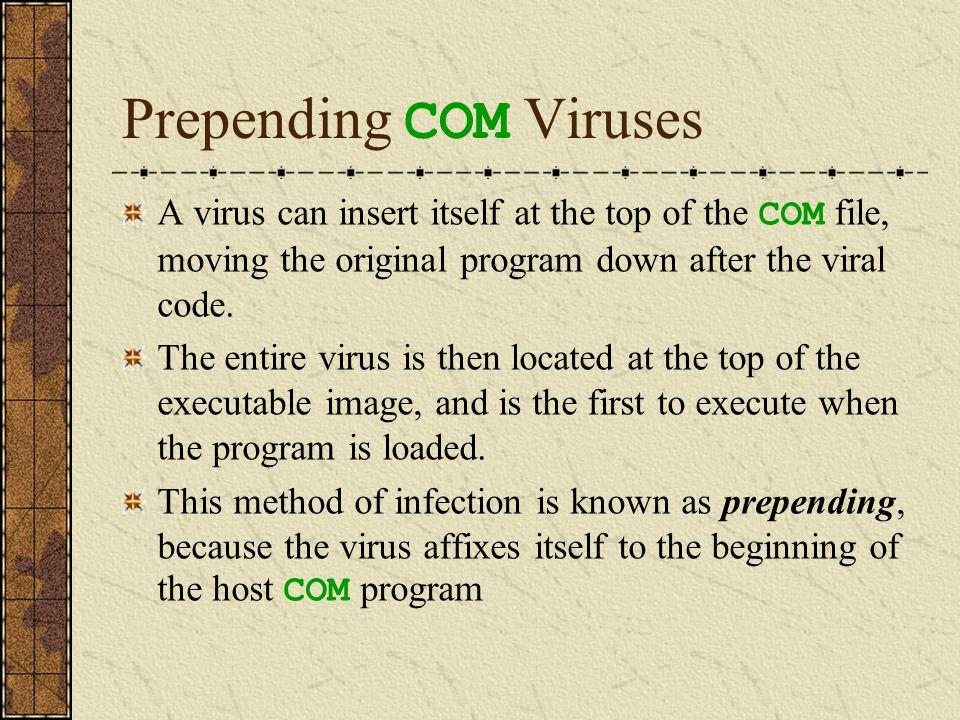 Prepending COM Virus Infection