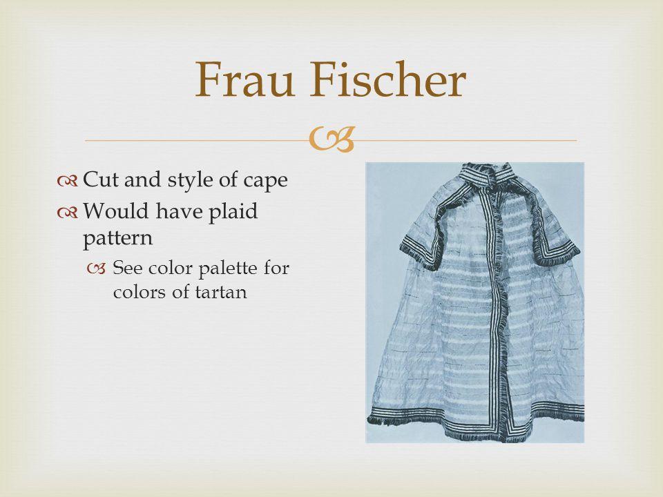  Frau Fischer  Evening dress – mature/suitable for a widow  Plaid textile – see color palette