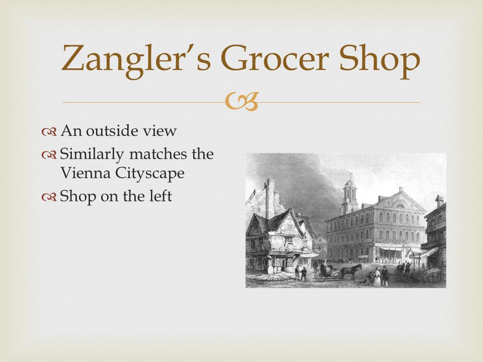  Zangler's Grocer Shop  Image of scales, weights  Close up view of behind the counter