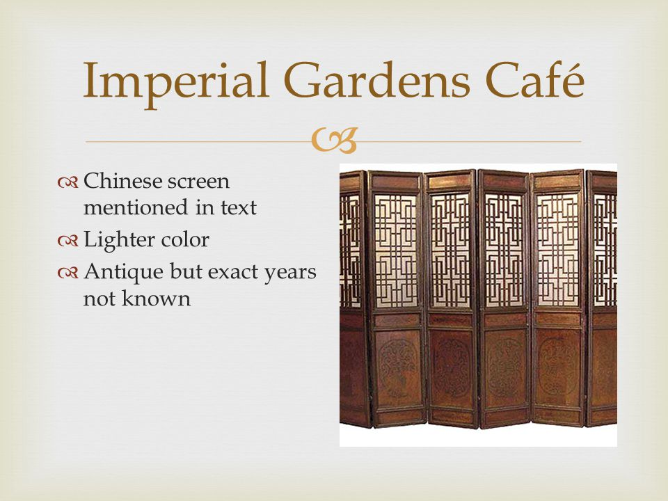  Imperial Gardens Café  Lamp/wall sconce  See nature theme  Foliage, fruit  Soft light