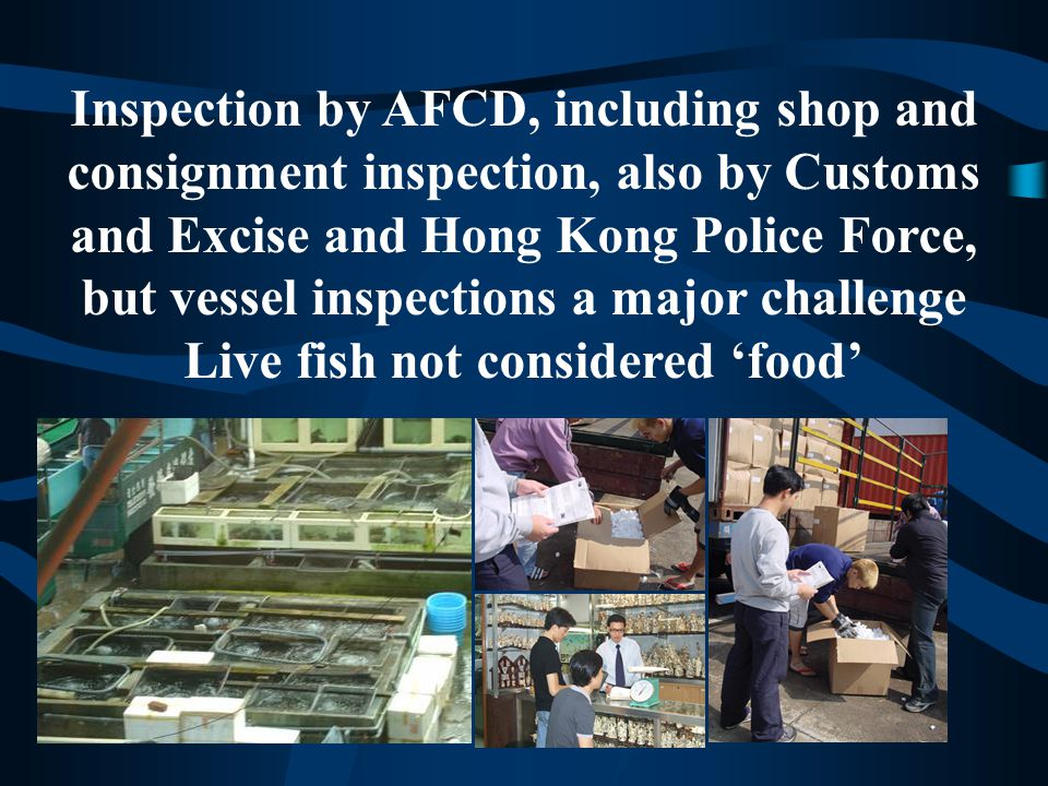 Inspection by AFCD, including shop and consignment inspection, also by Customs and Excise and Hong Kong Police Force, but vessel inspections a major challenge Live fish not considered 'food'