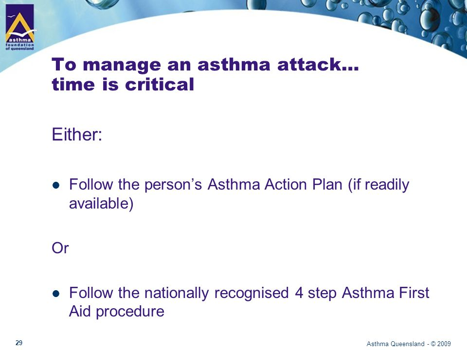 Asthma First Aid Asthma Queensland - © 2009 30
