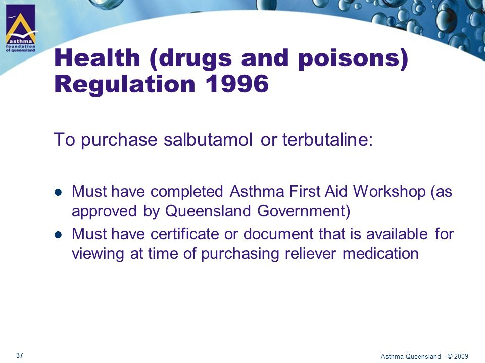 What you can now do… Recognize an asthma attack and if needed assist in giving blue reliever medication Help to keep your workplace Asthma Friendly Understand the need to have Asthma First Aid available in the workplace Asthma Queensland - © 2009 38