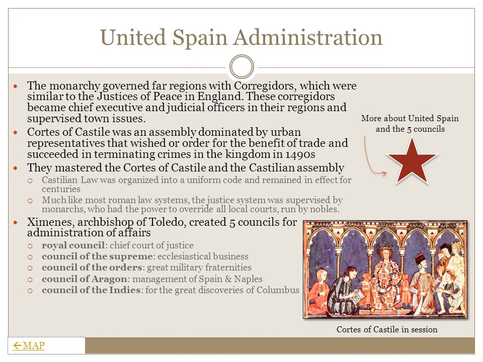 United Spain Monarchy In 1469, Ferdinand, the future king of Sicily and Aragon married Isabella, the future queen of Castile, thereby uniting the provinces into the Kingdom of Spain  Jointly assumed the thrones of Castile in 1474 and Aragon in 1479, thereby weakening the Castilian nobles.
