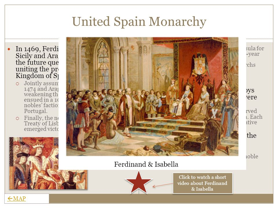Achievements & Religious Affairs Relations with the Church  Pope granted monarchy right to make church appointments in Southern Castile in 1492, weakening the church and making Spain more independent than any other state Religious Wars  Driving Muslims from Castile in 1479 helped create Spanish loyalty toward the monarchy & helped occupy restless nobles.