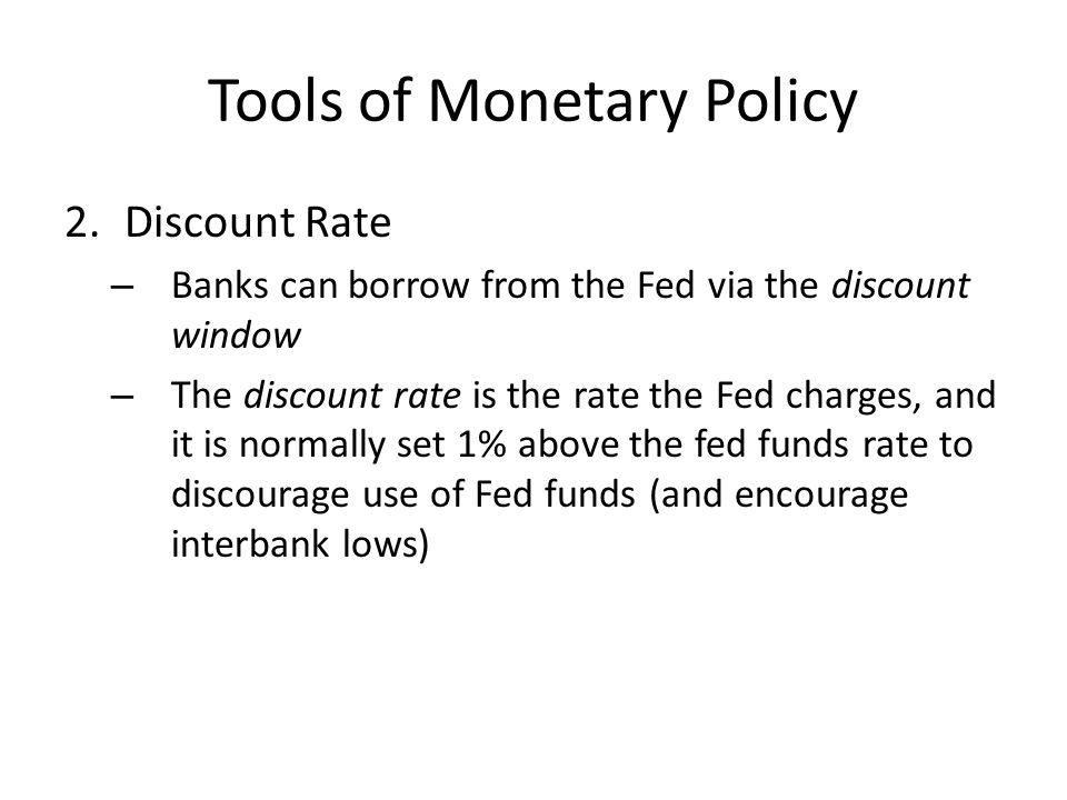 Copy and answer: How would changes to the discount rate (i.e., reducing the gap between the fed funds rate and discount rate to just.25% as the Fed did in 2008) tighten or loosen the money supply?